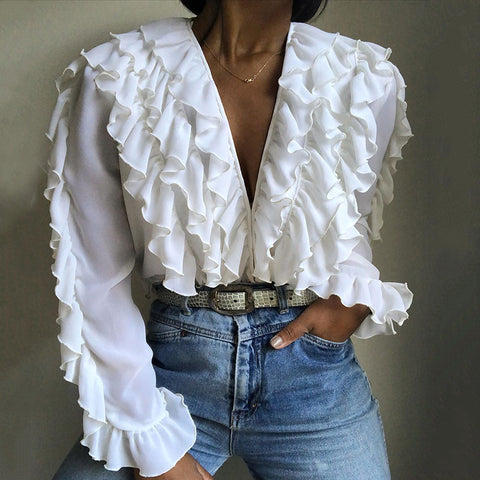V-neck Stitching Ruffled White Blouse
