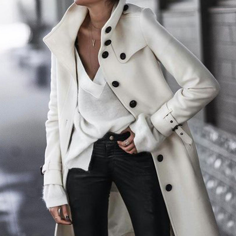 Fashion Pure Color Long Sleeve Button Coat