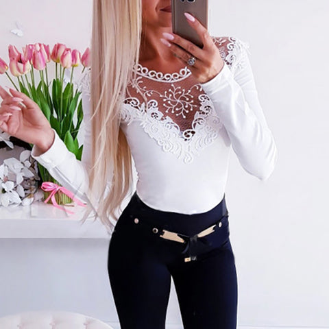 Fashion Lace Patchwork Long Sleeve T-shirt