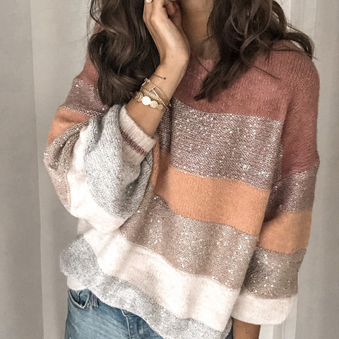 Women's Round Neck Colourful Loose Sweater