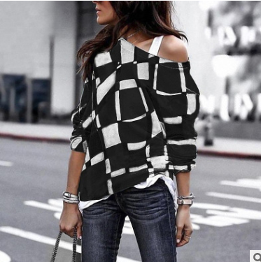 Fashion Sloping Shoulder Check Loose Long Sleeve T-Shirt