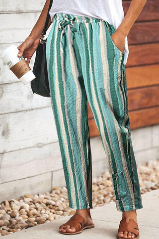 New Colorful Striped Elastic Waist Slim Pants