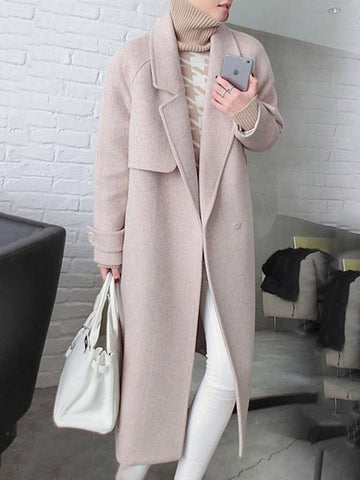 Notch Lapel  Belt  Plain Coat