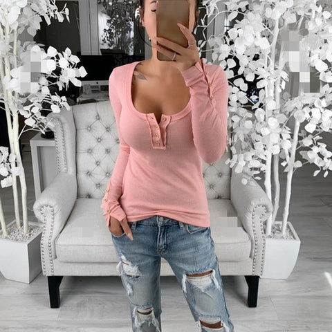 Fashion Slim Large Round Collar Waffle Solid Color T-Shirt