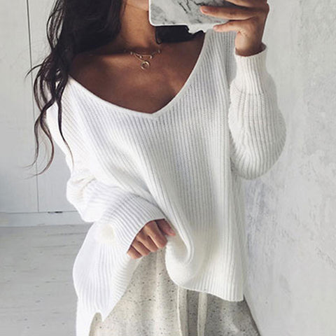 Sexy White Irregularly Knitted Long-sleeved Sweater
