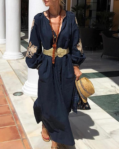 Beach Printed Color Pure Color Linen Vacation Casual Maxi Dress