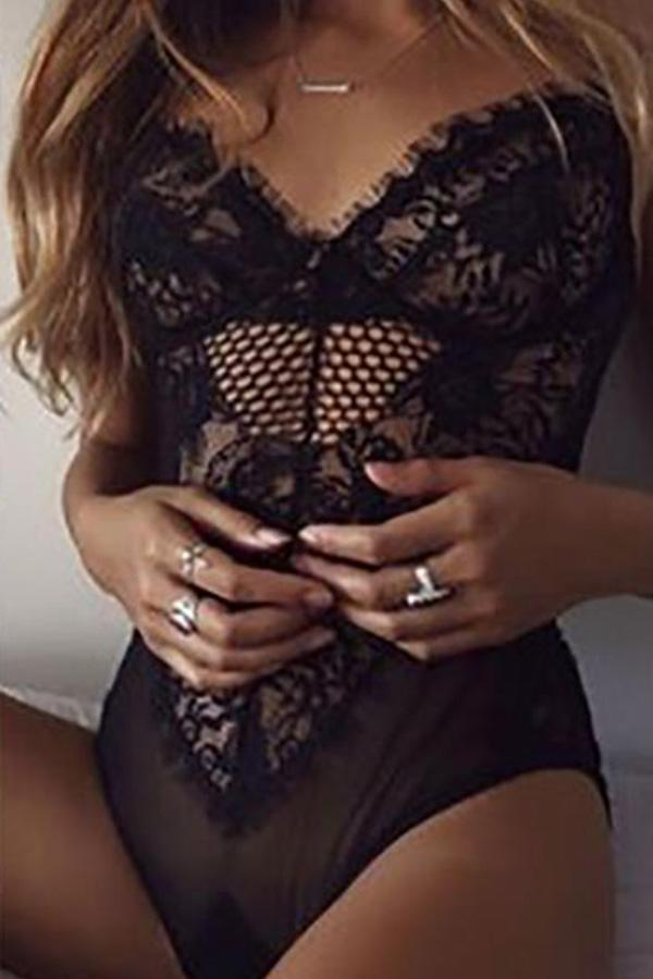 Sexy Hollow Lace One-Piece Lingerie