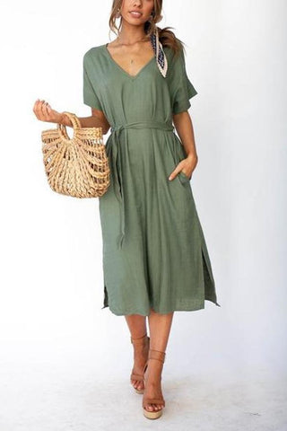 V-Neck Short-Sleeved Tie With Solid Color Midi Dresses