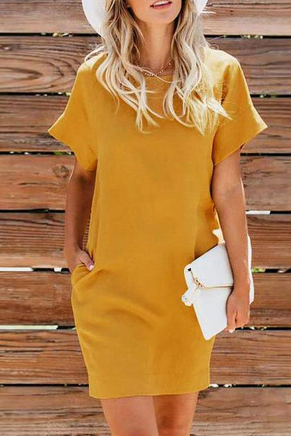 Round Neck Short Sleeve Plain Brief Casual Dresses