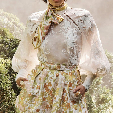 Sweet Stand Collar Print Puff Sleeve Blouse
