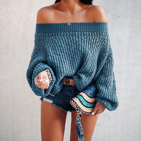 One-Shouldered Lantern Sleeve Sweater