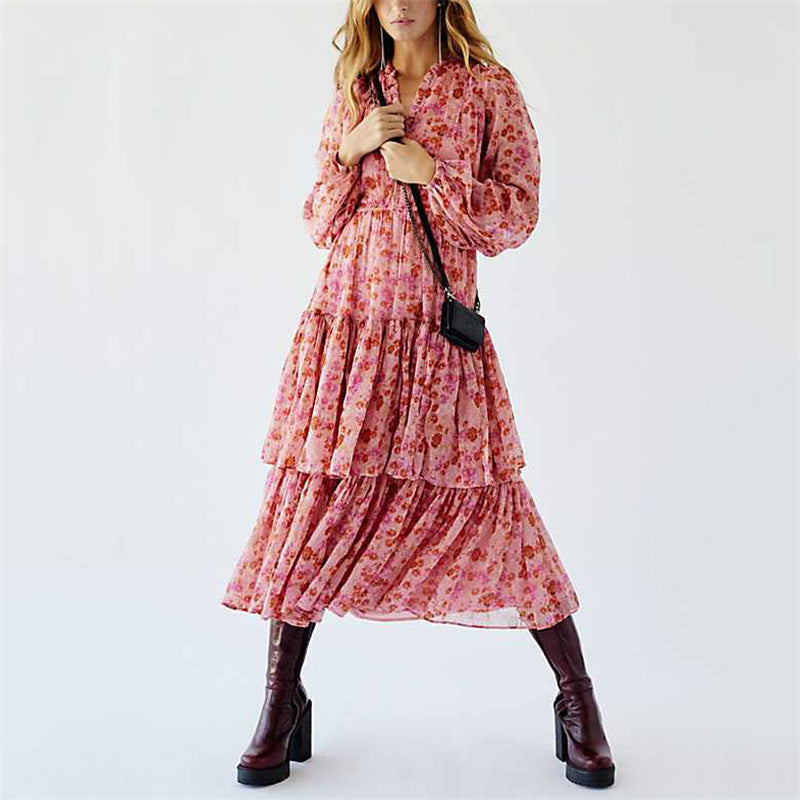 Fashion Floral Printed Long Sleeve Dress
