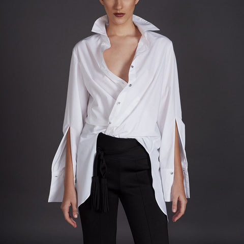 Modern White Slit Long Sleeves Loose Shirt