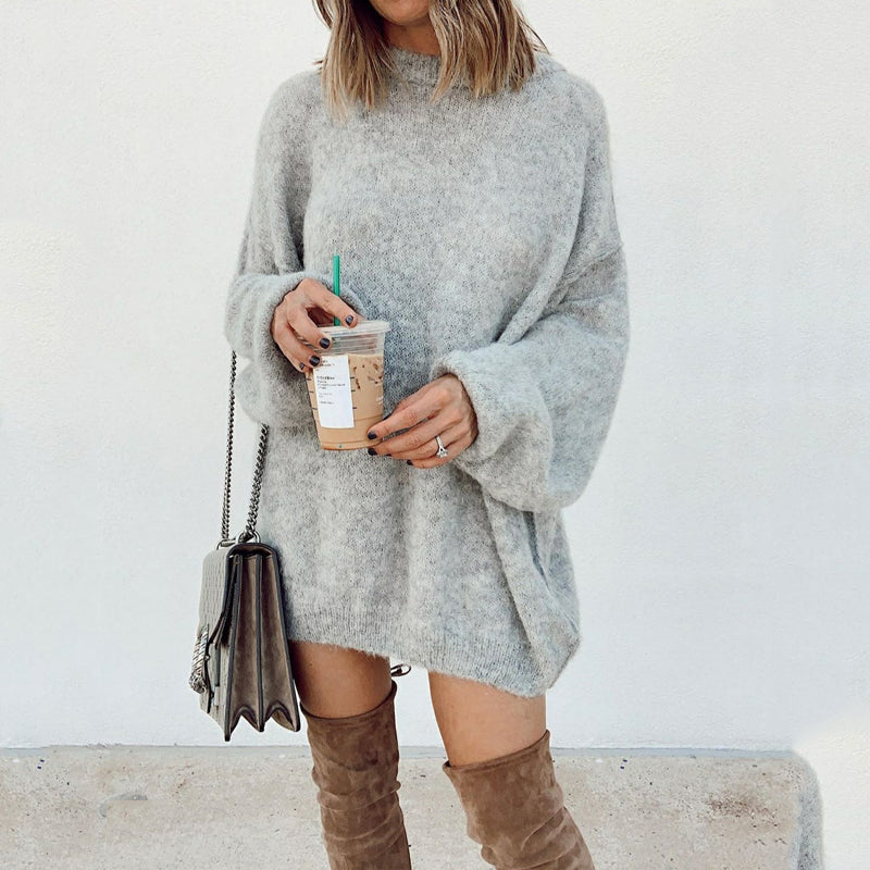 Fashion Solid Color Loose Bat Long Sleeve Knit Dress