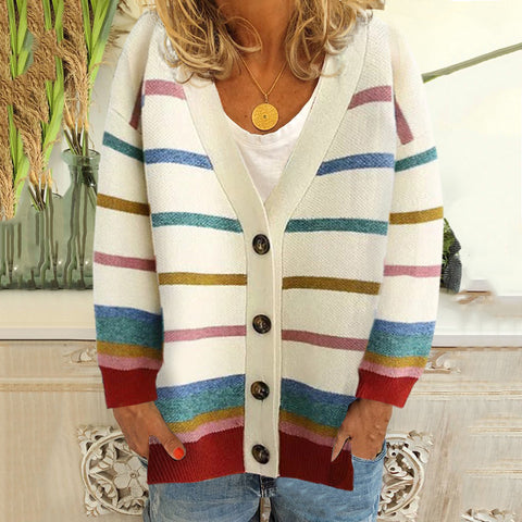 Women's casual striped colorblock single-breasted cardigan