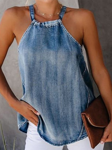 Classy Off-Shoulder Denim Halter Vests