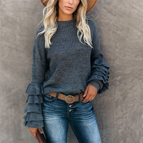 Women's round neck flare sleeve multi-layer ruffle sweater