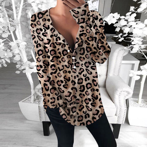 Women's Fashion Leopard Print Single-breasted Loose T-shirt
