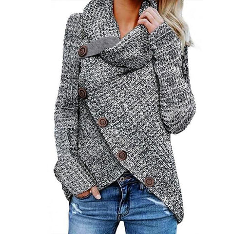 Casual High Neck Decorative Buttons Sweater