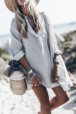 V Neck  Single Breasted  Striped  Long Sleeve Casual Dresses