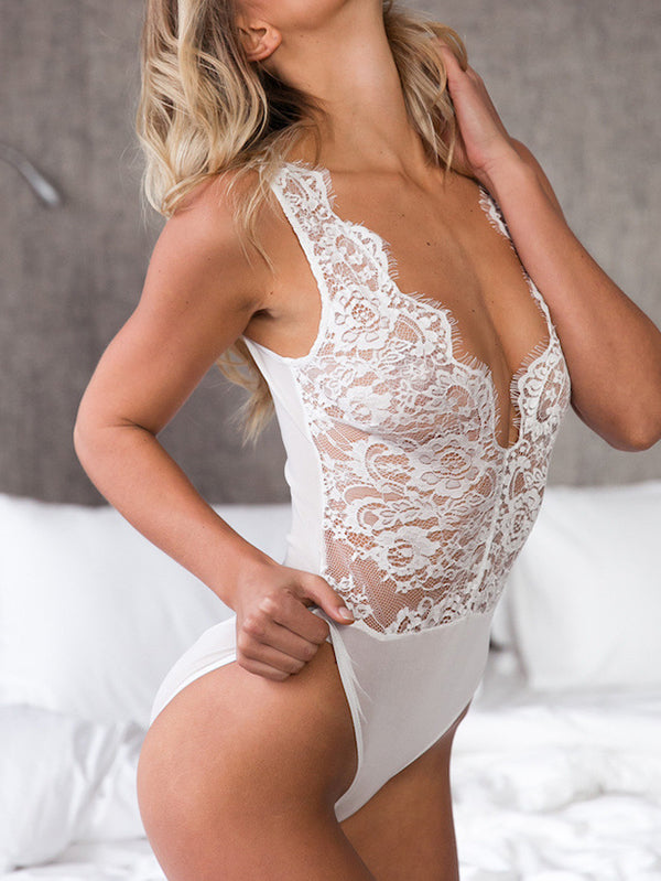Sexy Mesh Eyelash Lace One-Piece Lingerie