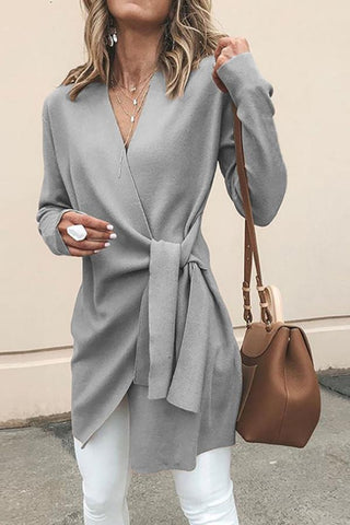 V Neck Belt Plain Outerwear