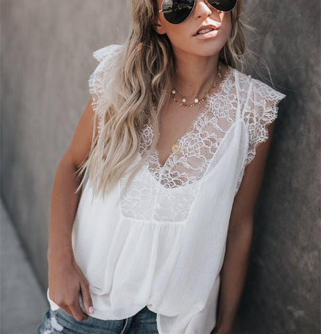 Sexy V-Neck Sleeveless Lace Chiffon Halter Top With Two Piece Vest