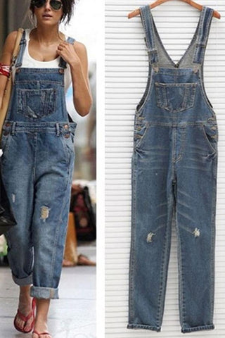 New Stylish Women Denim Overalls Scratched Washed Ripped Hole Jumpsuits
