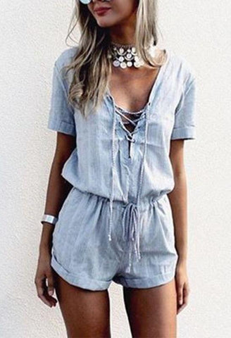V Neck Lace Up Short Sleeve Casual Jumpsuits