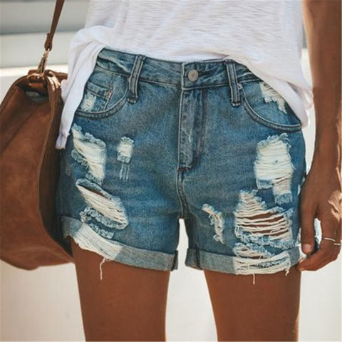 Fashion Plain Loose Hole Denim Shorts