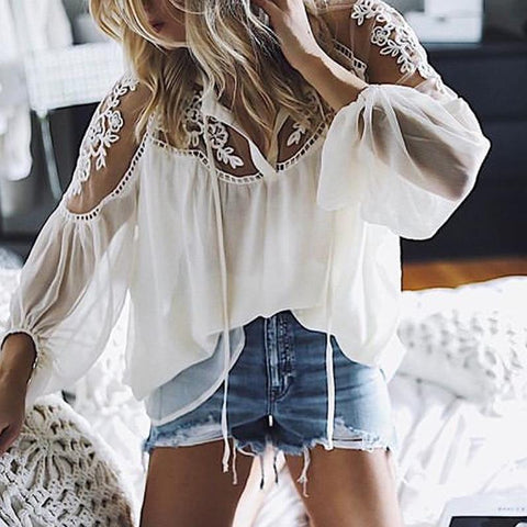 Fashion Pure Colour Chiffon Loose Long Sleeve Shirt