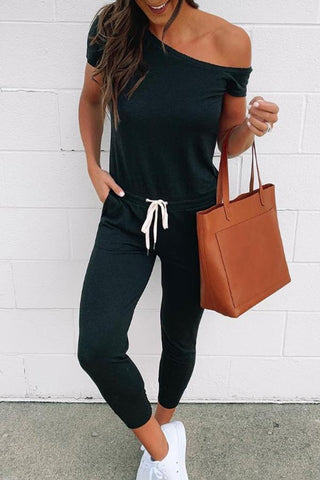 One Shoulder  Plain Jumpsuits
