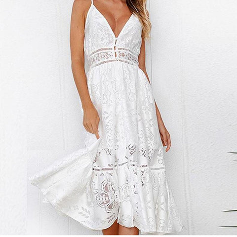 Solid Color Sling Lace Midi Dress