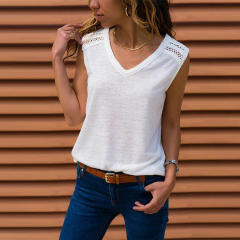 V Neck Sleeveless Lace Patchwork T-Shirts