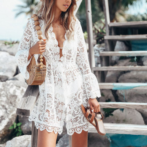 Sexy Lace Long Sleeve V-Neck Cover Ups