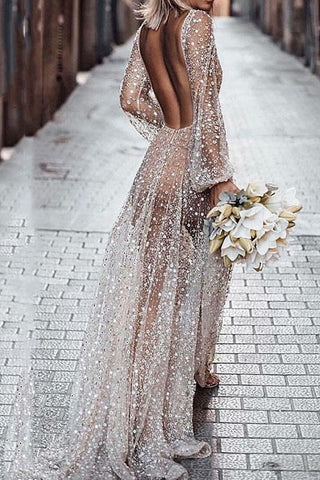 Sexy Long-Sleeved Low-Back Evening Dress