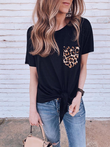 Casual Leopard Print Pocket Short Sleeves T-Shirt