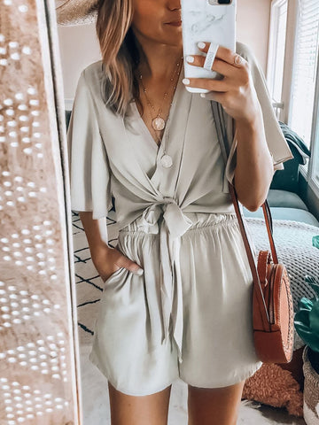 Casual V Neck Pure Colour Belted Pleated Ruffled Romper