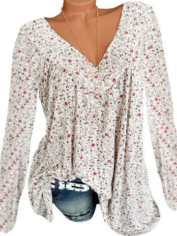 V Neck Patchwork Floral Printed Long Sleeve Shirts