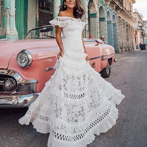 One-Shouldered Ruffled Openwork Lace Stitching Dress
