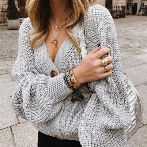 V-Neck Knit Button Sweater Cardigan