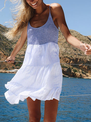 Casual Patchwork Spaghetti Strap Dress