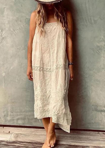 Brief Pure Colour Sleeveless Vacation Causal Maxi Dress