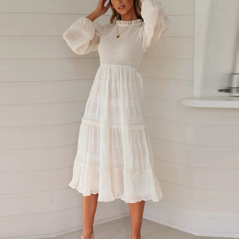 Short High Collar Chiffon Long Bubble Sleeves Pure Colour Dress