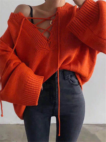 Fashion V-Neck Hooded Long-Sleeved Knit Sweaters