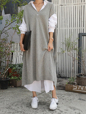Casual V Neck Loose Plain Maxi Dress