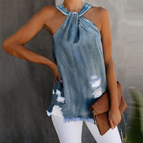 Fashion Hanging Neck Denim Hole Sleeveless Camis