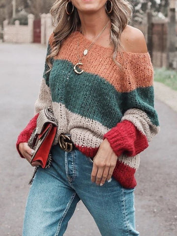 Casual Off-Shoulder Long Sleeve  Loose Sweater