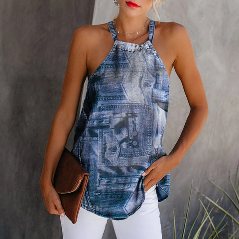 Casual Sexy Jean Printed Loose Regular Tank Top