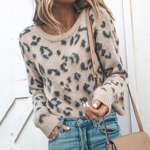 Women's Casual Round Neck Printed Color Long Sleeve Sweater
